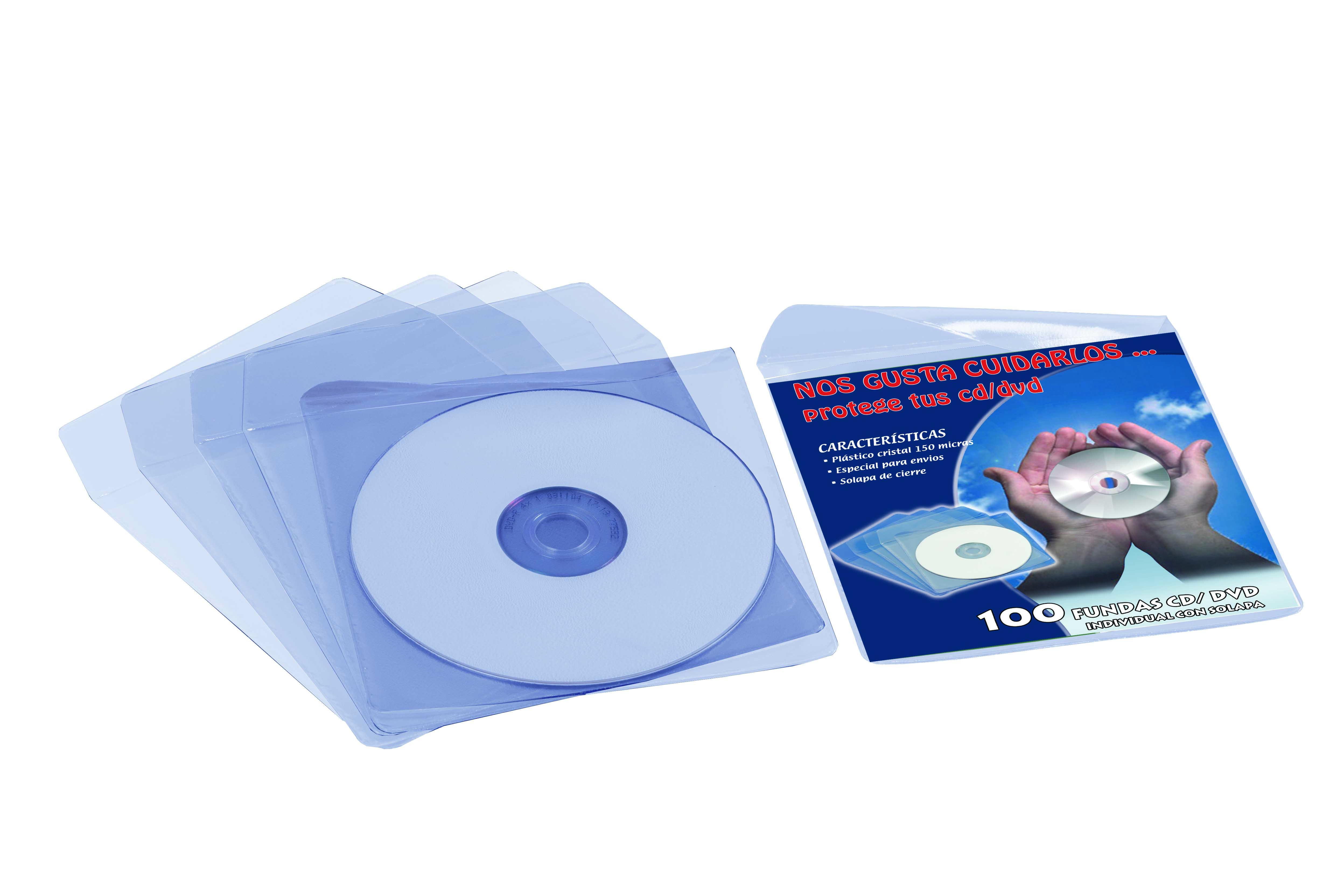 CAJA 100 FUNDAS PVC CRISTAL CD/DVD 125X125MM + SOLAPA IBERPLAS 479D100