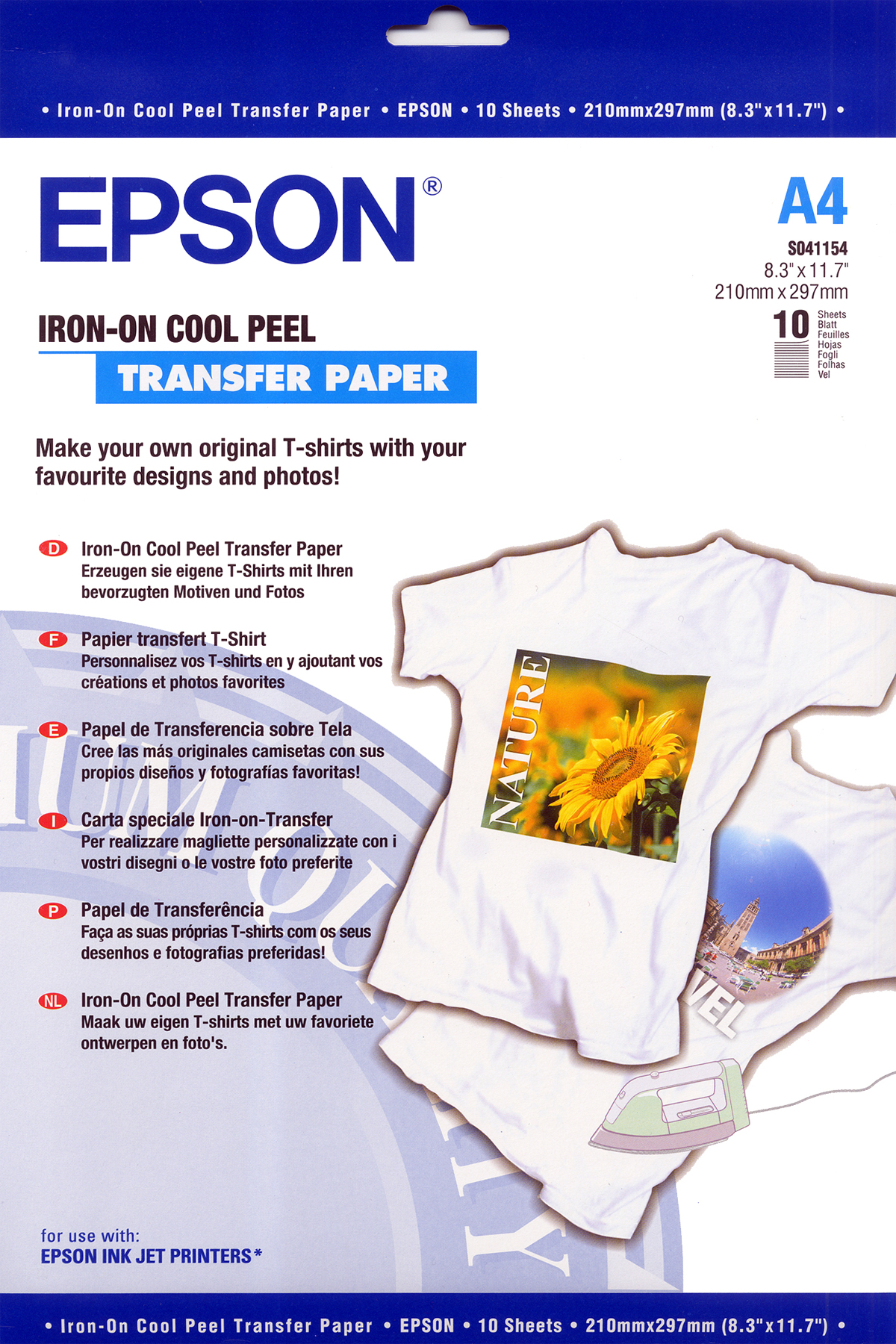 PAPEL DE TRANSFERENCIA IRON-ON, DIN A4, 124 G/M², 10 HOJAS