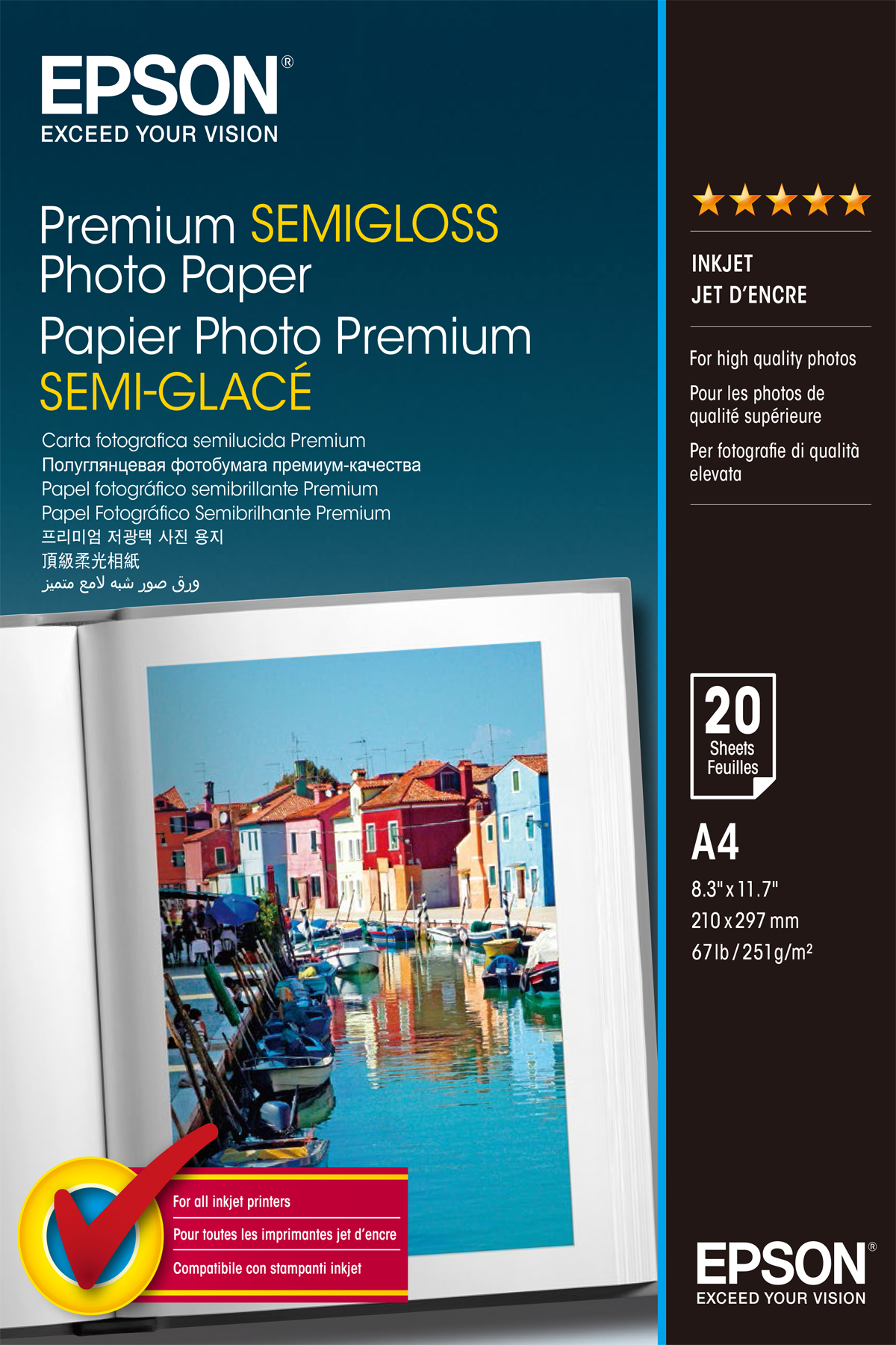 PREMIUM SEMIGLOSS PHOTO PAPER, DIN A4, 251 G/M², 20 HOJAS