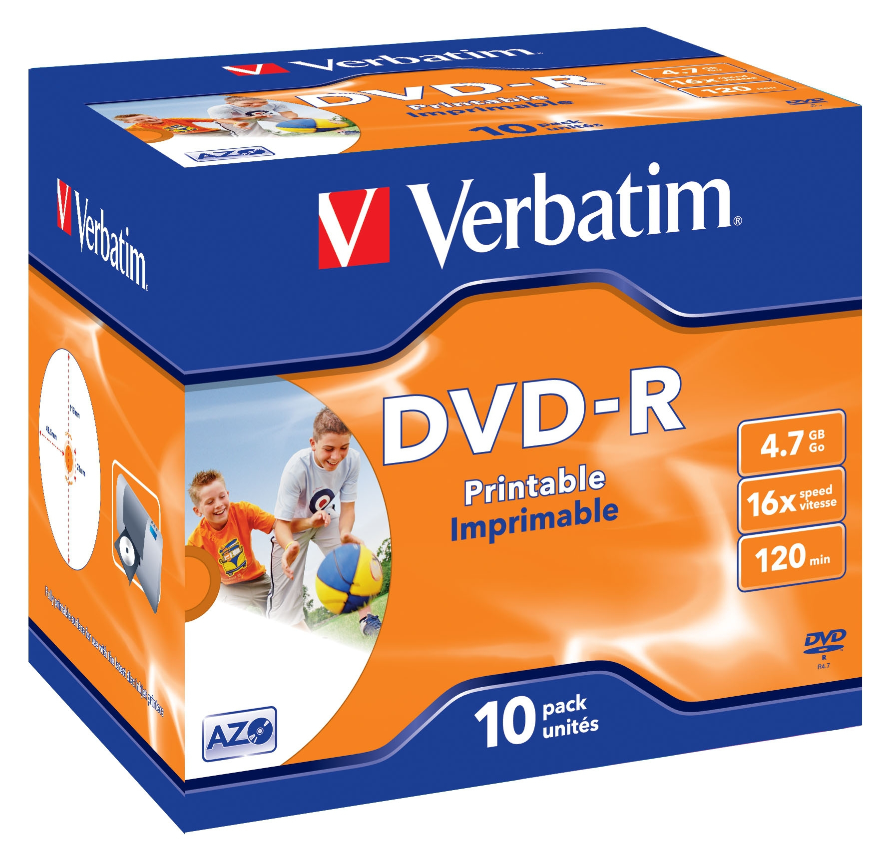 DVD-R WIDE INKJET PRINTABLE ID BRAND 4.7GB DVD-R 10PIEZA(S)
