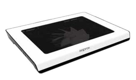 Base Refrigeradora Approx Appnbc06w Para Portatiles Hasta 15.6/39.6cm - 1x Ventilador 14cm - 2x Led Azul - 2xusb - Color Blanco