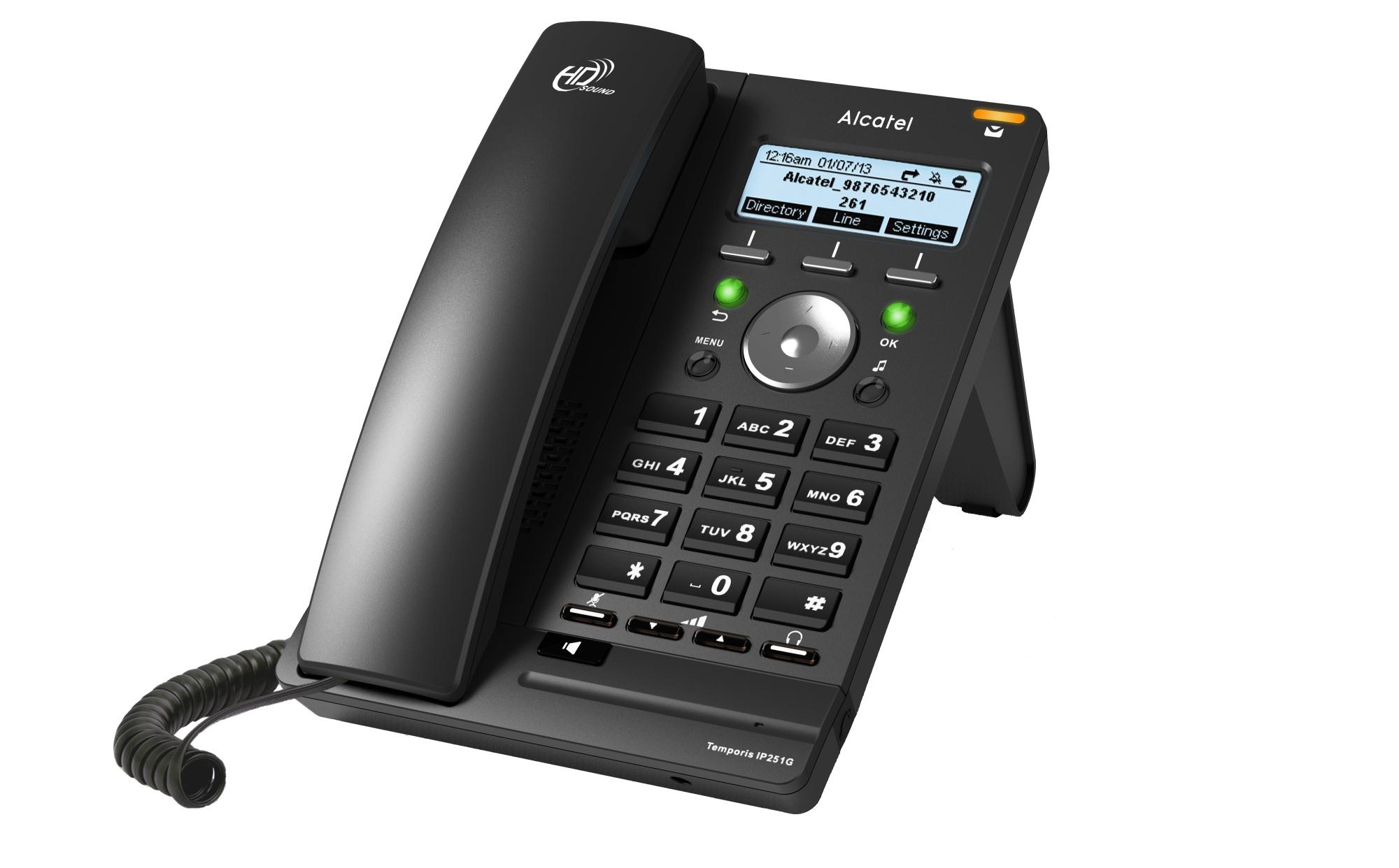 TEMPORIS IP251G TERMINAL CON CONEXIóN POR CABLE 6LíNEAS LED NEGRO TELéFONO IP