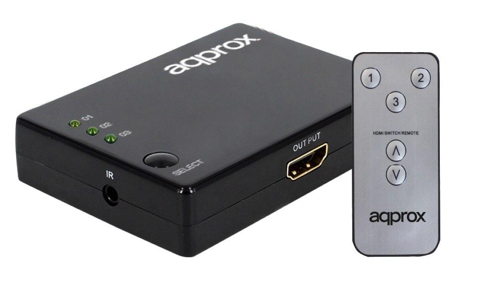 SWITCH MULTIPLEXOR HDMI APPROX APPC29 - 3 ENTRADAS - 1 SALIDA - BOTON MANUAL + CONTROL REMOTO - RENDIMIENTO HASTA 2.5GBPS