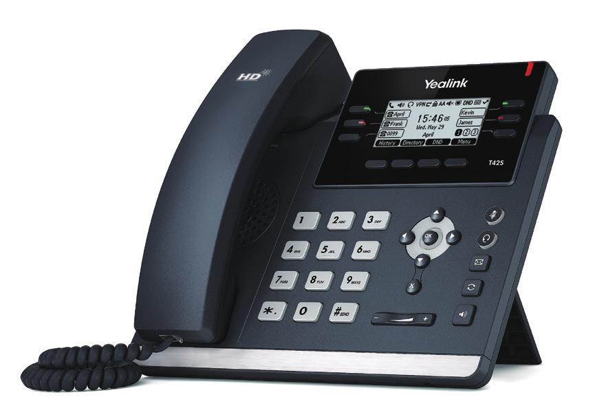 SIP-T42S TERMINAL CON CONEXIóN POR CABLE 12LíNEAS LCD NEGRO TELéFONO IP