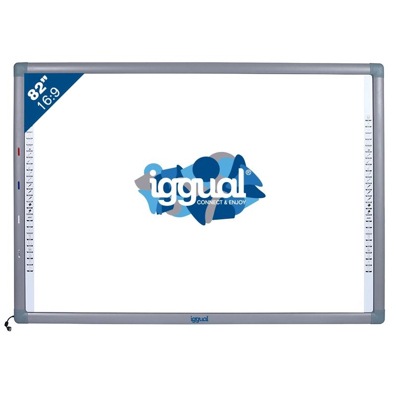 """IGG314388 82"""" PANTALLA TáCTIL USB GRIS, COLOR BLANCO PIZARRA Y ACCESORIOS INTERACTIVOS"""