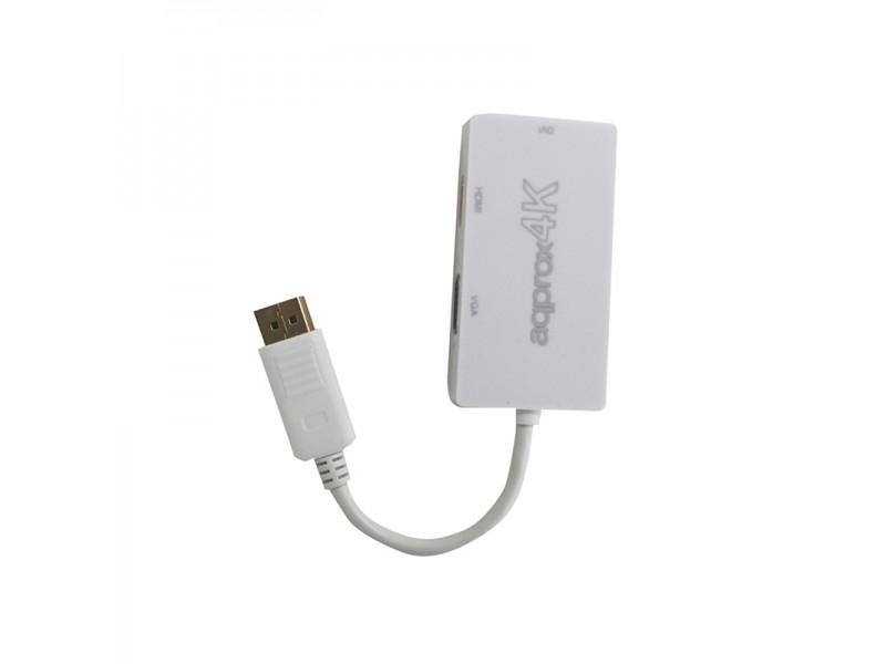 Adaptador Approx Appc37 De Displayport A Vga / Dvi / Hdmi - Resolucin Max. 4k - Plug And Play
