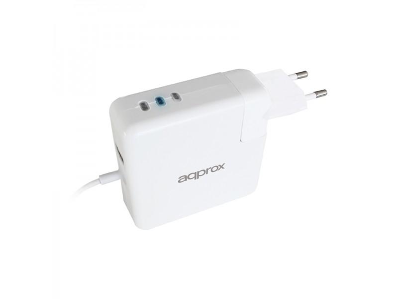 Cargador Approx Appuaapl Para Macbook Conector Tipo L - Botn Seleccin Potencia 45/60/85w - Usb 5v/2.1a