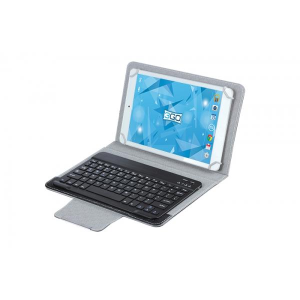 Funda Universal Con Teclado Bt 3go Csgt28 Gris/negra - Para Tablets 10/25.4cm - 78 Teclas - Ganchos Elsticos - Cierre Magntico