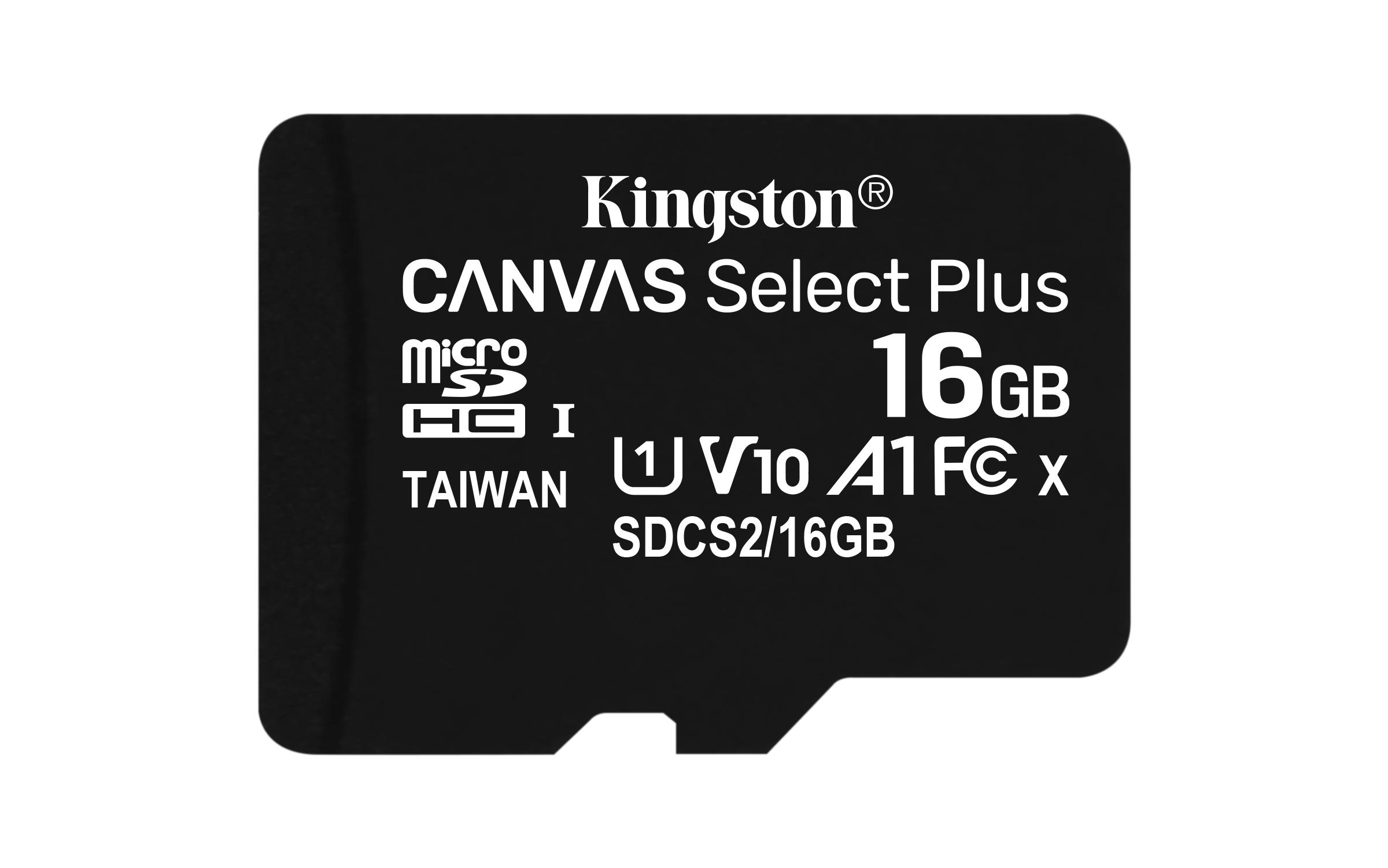 CANVAS SELECT PLUS MEMORIA FLASH 16 GB MICROSDHC CLASE 10 UHS-I
