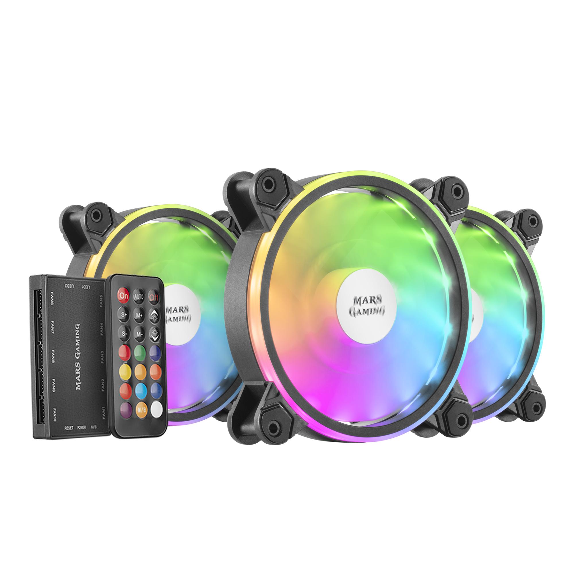 Mfxkit Ventilador De Pc Carcasa Del Ordenador Set De Refrigeración 12 Cm Negro 3 Pieza(s)