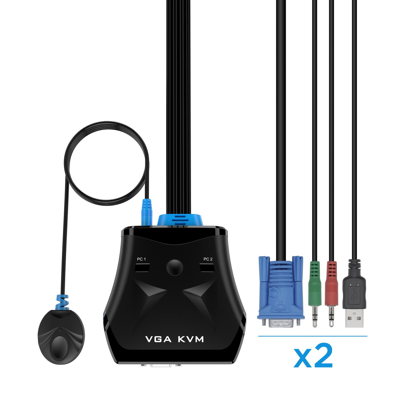 CONMUTADOR KVM VGA USB 1U-2PC+CABLE, NEGRO