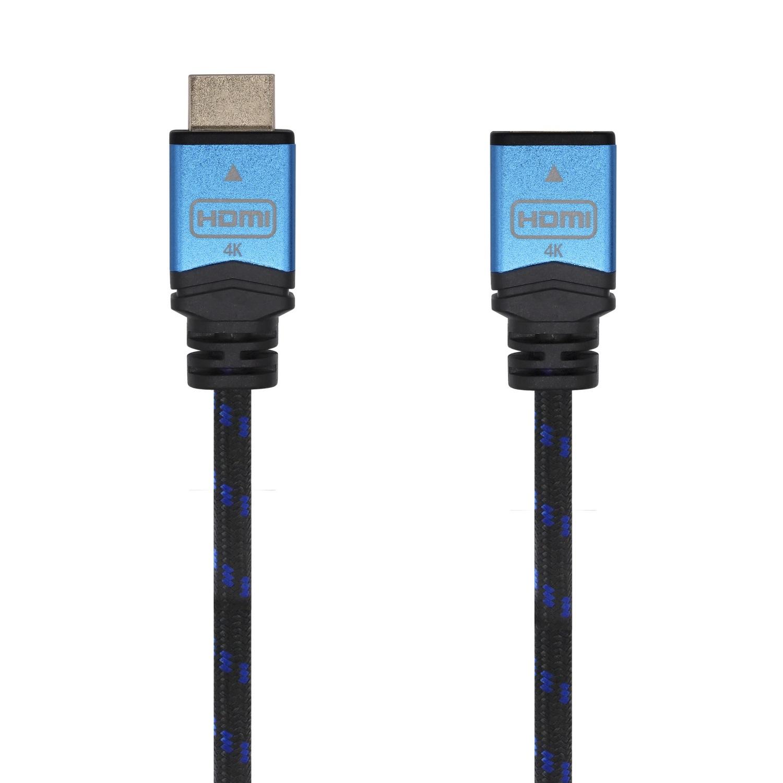 Cable Hdmi V2.0 Prolongador Premium Alta Velocidad / Hec 4k@60hz 18gbps, A/m-a/h, Negro/azul, 1.0m